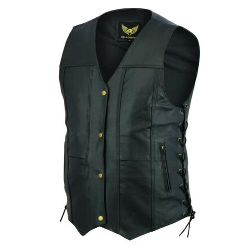 Men Leather Pocket Motorcycle Vest