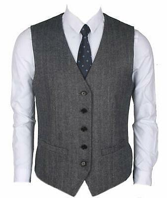 Ruth&Boaz 2Pockets 5Buttons Herringbone Tweed Business Suit Vest