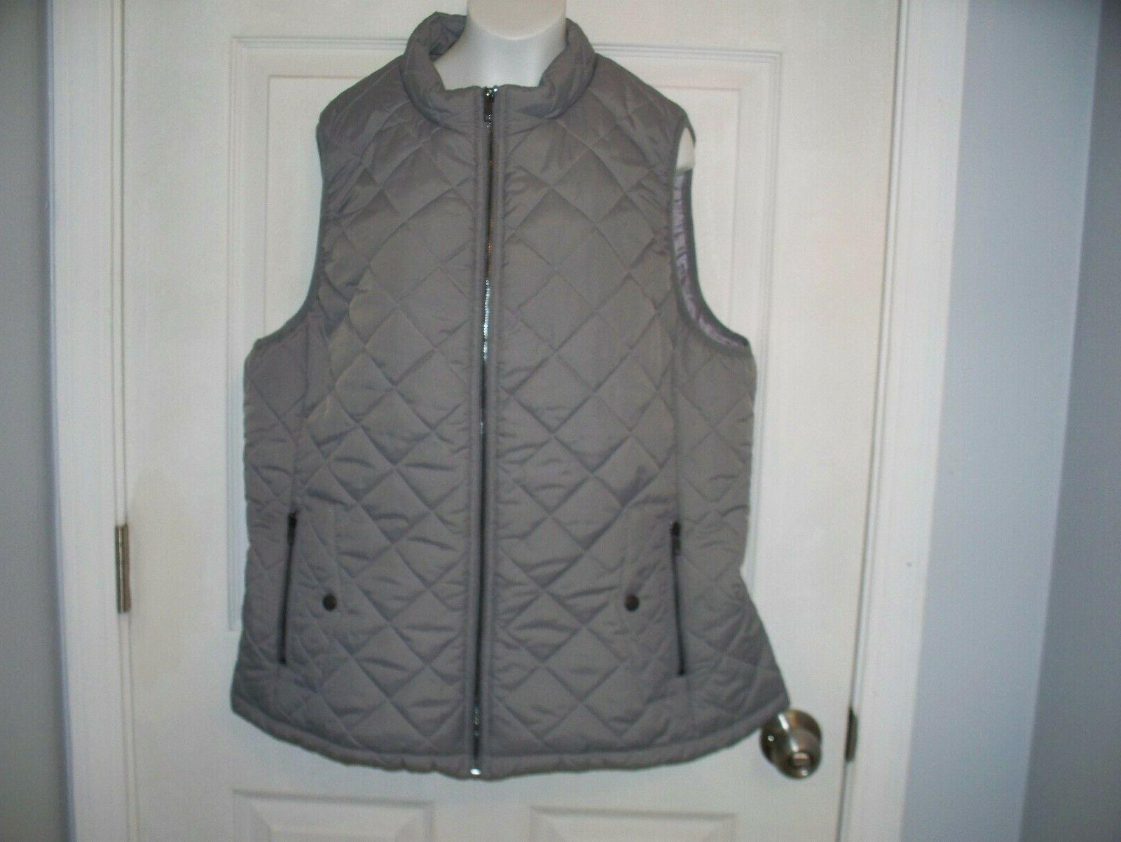woman zip quilted padded vest size xl