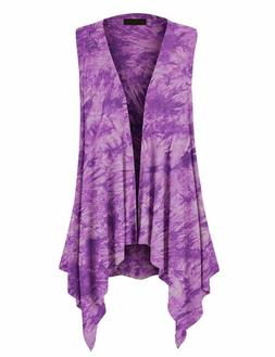 MBJ Women's Lightweight Sleeveless Solid/Tie-Dye Open Front