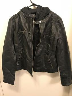 MBJ Womens Faux Leather Motorcycle Jacket W/ Removable Hoodi
