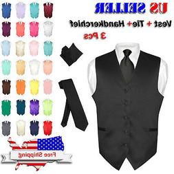 Men's Dress Vest NeckTie Hanky Solid Color Waistcoat Neck Ti
