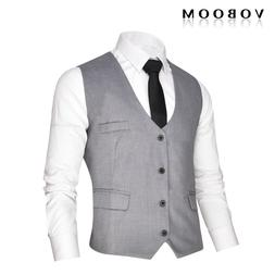 VOBOOM Men's Gray Suit Waistcoat Vest Gilet Slim Fit Busines