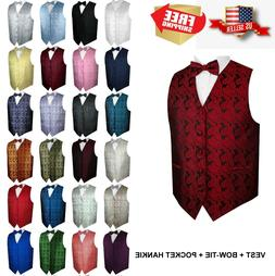 Men's Paisley Formal Tuxedo Vest, Bow-Tie & Hankie set. Wedd
