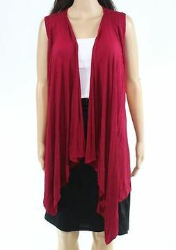 Made by Johnny Women's Sweater Red Size 3XL Plus Vest Open-F